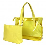Clear PVC 2-in-1 Totes w/ Leather-like PU Trim - Yellow - BG-100843YL