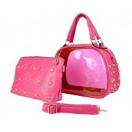 Clear PVC 2-in-1 Satchel w/ Metal Studded Leather-like PU Trim - Fuchsia