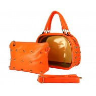 Clear PVC 2-in-1 Satchel w/ Metal Studded Leather-like PU Trim - Orange