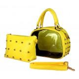 Clear PVC 2-in-1 Satchel w/ Metal Studded Leather-like PU Trim - Yellow