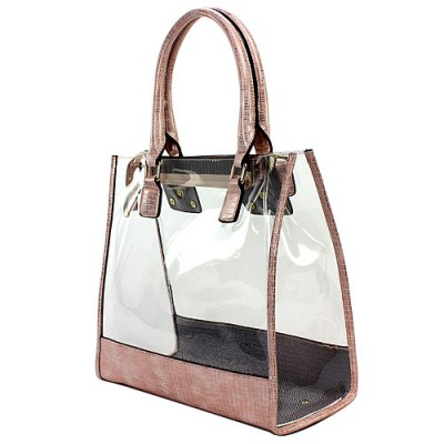 2-in-1 Clear PVC Tote Bag w/ Croc Embossed Trim - Pink