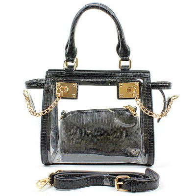 2-in-1 Clear PVC Tote Bag w/ Croc Embossed Trim - Black