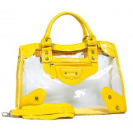 Clear PVC Tote Bag w/ Croc Embossed Patent Leather-like Trim - Mustard - BG-CLR001MUS