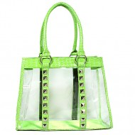 Clear PVC Tote Bag - Croc Embossed Patent Leather-like Trim w/ Pyramid Studs - Green- BG-CLR003GN