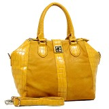 Croc Embossed Satchel Bags w/ Detachable Shoulder Strap - Yellow - BG-S0075YL