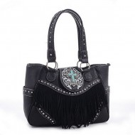 Cross Charm Western Style with Fringe Accent Tote Bag - Black - BG-MJ6802BK