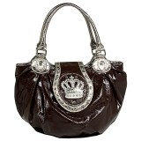 Crown Charm Tote w/ Flap - Brown - BG-CR110BN