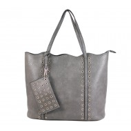 Leather-Like Tote Bag w/ Free Detachable Pouch - Gray