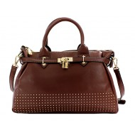 Tote Bag Accent with Metal Studs and Belted Lock - Brown