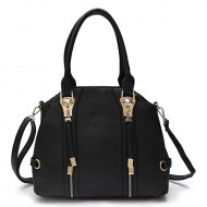Satchel Bag w/ 2 Front Zipper Pockets - Black