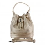 Drawstring Bucket Bags w/ Perforated Design - Champagne