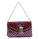 Evening Bag - Sequined Checker w/ Croc Embossed Dual Flap - Purple