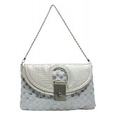 Evening Bag - Sequined Checker w/ Croc Embossed Dual Flap - Silver
