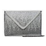 Evening Bag - Satin Envelop Clutch w/ Graident Colored Rhinestones - Gray