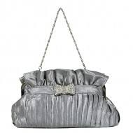 Evening Bag - Pleated Satin w/ Rhinetone Bow - Gray -BG-92288GY