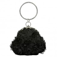 Evening Bag - Chiffon Rosettes w/ Rhinestone Ring Wristlet - Black - BG-100187B