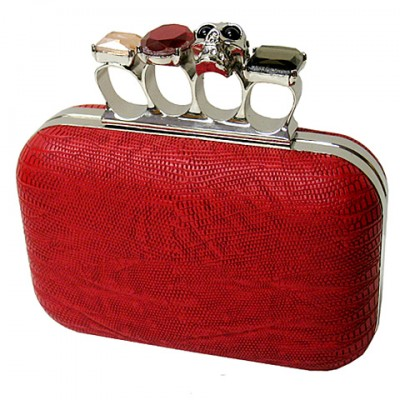 Evening Bag - Small Skull & Stone Knuckle Clutch Bags - Coral - BG-EHP7102COR