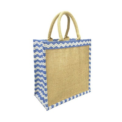 "Jute Tote: 12"" Chevron Print w/ Cotton Webbed Tube Handles"