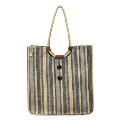 Jute Tote: Stripes w/ Cotton Woven Loop Handles