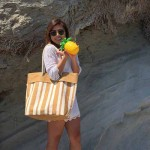 Jute Tote: Stripes w/ Cotton Cable Loop Handles