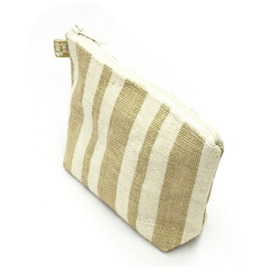 Jute Cosmetic Purses: Multi Stripes