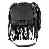 Messenger Bag w/ Genuine Leather Fringes - Black -BG-A43810BK