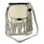 Messenger Bag w/ Genuine Leather Fringes - Bone