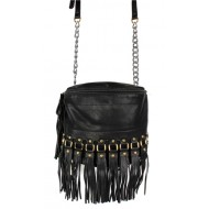Shoulder/ Messenger Bag Accent With Fringes - Black