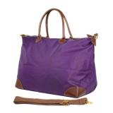 Nylon Large Shopping Tote w/ Nylon Shoulder Strap - Purple