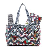 Quilted Cotton Diaper Bag - Owl & Chevron Printed - Grey - BG-OW603GY