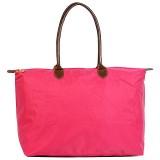 Nylon Large Shopping Tote w/ Leather Like Handles - Fuchsia - BG-HD1293FU