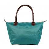 Nylon Small Shopping Tote w/ Leather Like Handles - Emeral