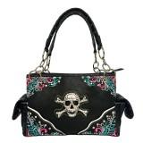 Western Style Tote Bag w/ Rhinestone Stones Skull Charm - Black