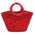 Straw Bucket Tote: Sequined Woven Wheat Straw w/ Loop Handles - Red- BG-B11036RD