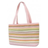 Straw Shopping Tote Bags - Multi Stripes -Pink