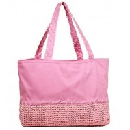 Straw Shopping Tote Bags - Pink