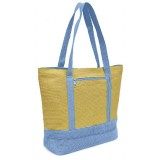 Straw Shopping Tote Bags - Paper Straw w/ Color Band Trim - Blue - BG-ST400BL