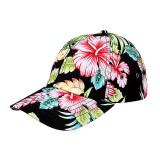 Baseball Cap- Tropical Flower Print – Cotton - Black - HT-7655G-BK