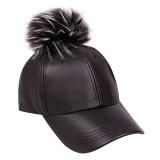 Baseball Cap - Faux Leather With Detachable Faux Fox Fur Pom Pom - Black