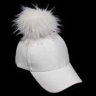 Baseball Cap - Faux Leather With Detachable Faux Fox Fur Pom Pom - Ivory