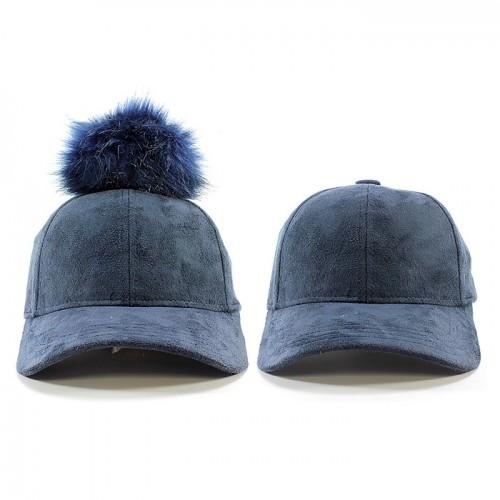 cbdd09f8087 ... Baseball Cap - Faux Suede w  Detachable Faux Fox Fur Pom Pom - Navy ...