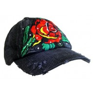 Embroidery Tattoo Cap - Rose (Washed Cotton) - Black - HT-BSR100BK