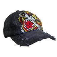 Embroidery Tattoo Cap - Tiger (Washed Cotton) - Black - HT-BST100BK