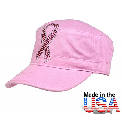 Military Cap  w/ Jeweled Breast Cancer Awareness Sign - Pink - HT-C7005PK