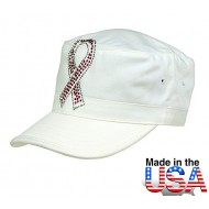 Military Cap w/ Jeweled Breast Cancer Awareness Sign - White - HT-C7005WT