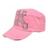 Military Cap W/ Rhinestone Cross Sign - Pink - HT-C7009PK