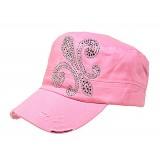 Military Cap W/ Rhinestone Fleur de Lis Sign - Pink - HT-C7018PK