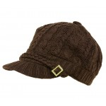Cap - Cable Knit Cap W/ Braided Band - Black Color - HT-H1253BN