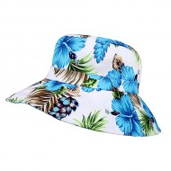 Bucket Hat - Ultra Soft Cotton Floral Print w/ Larger Brim - Blue