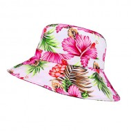 Bucket Hat - Ultra Soft Cotton Floral Print w/ Larger Brim - Pink
